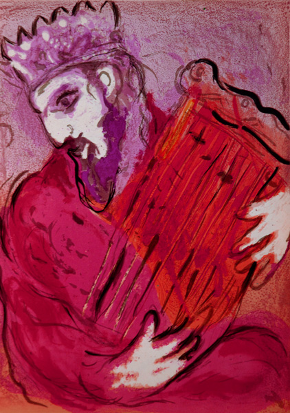 David with his harp dans immagini sacre Chagall_56Verve_David_Harp5