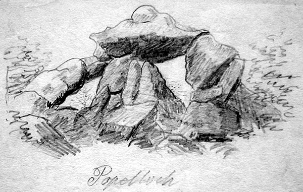 E f gehme austrian 19th century landscape with mountain stream ink and wash on wove paper c 1830 signed in pencil on the reverse