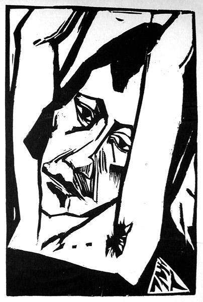 woodcut of a woman